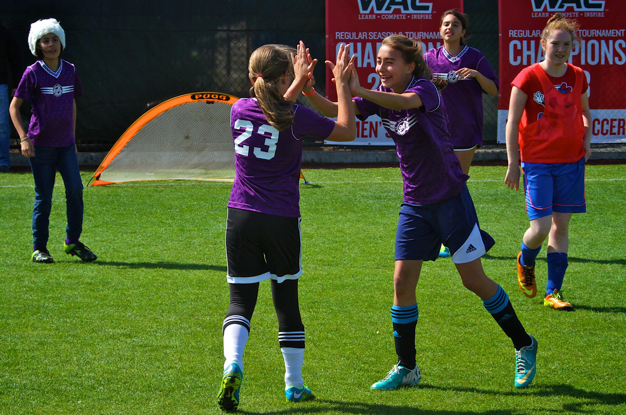 CYO Girls Soccer, Courtesy CYO Athletics, purple, celebration, youth, happy, goal, soccer, August 29, 2015, team Sts Joseph/ Alphonsus.