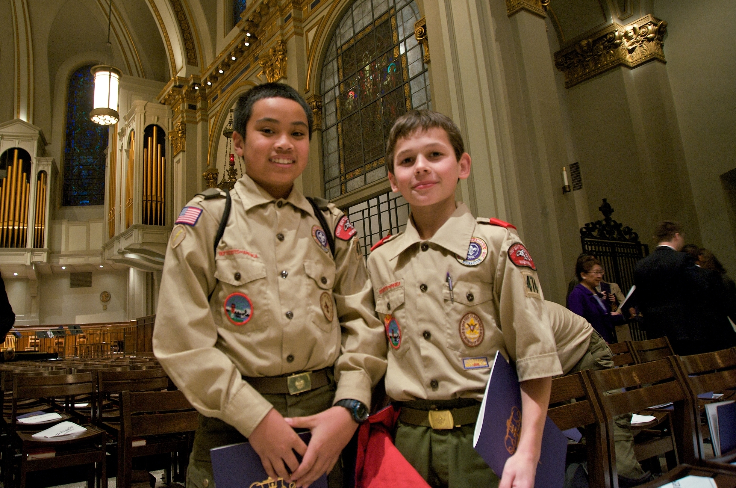 Two boy scouts at St. James Cathedral in Seattle, December 1, 2010