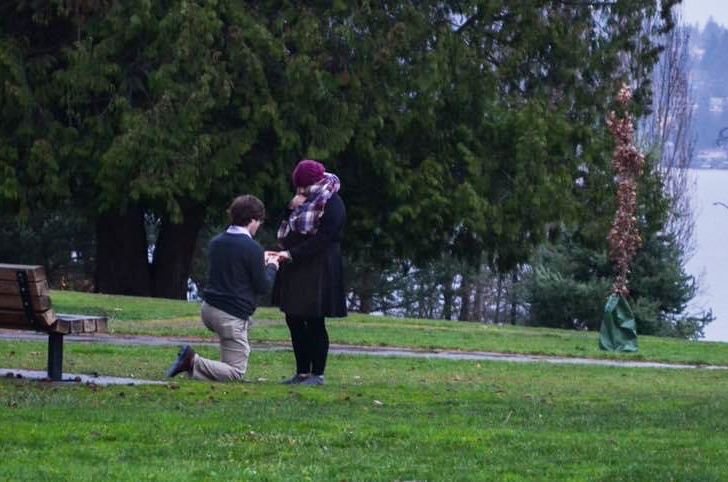 Sarah Bollard and Eric Clark engagement  Luther Burbank Park Mercer Island, WA. December 16, 2018.