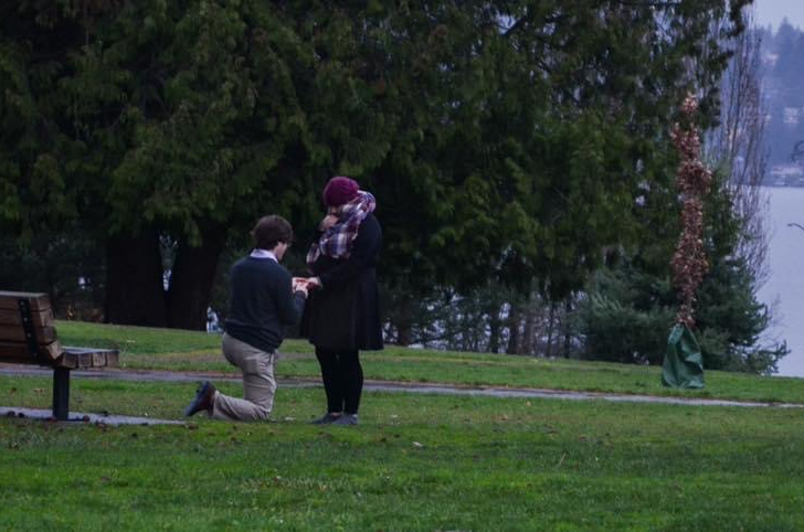 Sarah Bollard and Eric Clark engagement  Luther Burbank Park Mercer Island, WA. December 16, 2018.