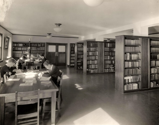 Library at St. Edward Seminary in Kenmore, WA, 1940s-1950s. VR1060.00904