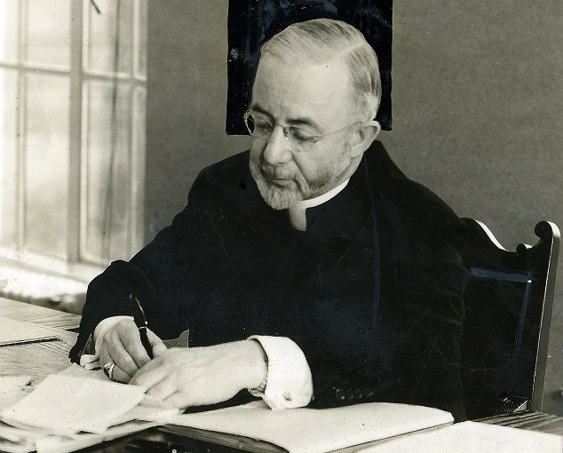 Bishop Shaughnessy in his office at the newly-built chancery, 1939. VR610.1351