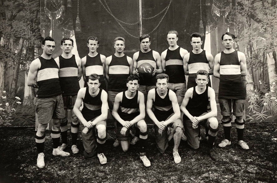 Basketball Team, Archives, Old. BW. Courtesy Archives of the Archdiocese of Seattle.