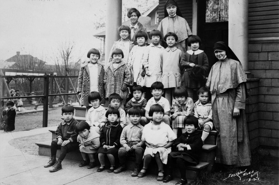 Maryknoll sisters and children, Archives, Old. BW. Courtesy Archives of the Archdiocese of Seattle