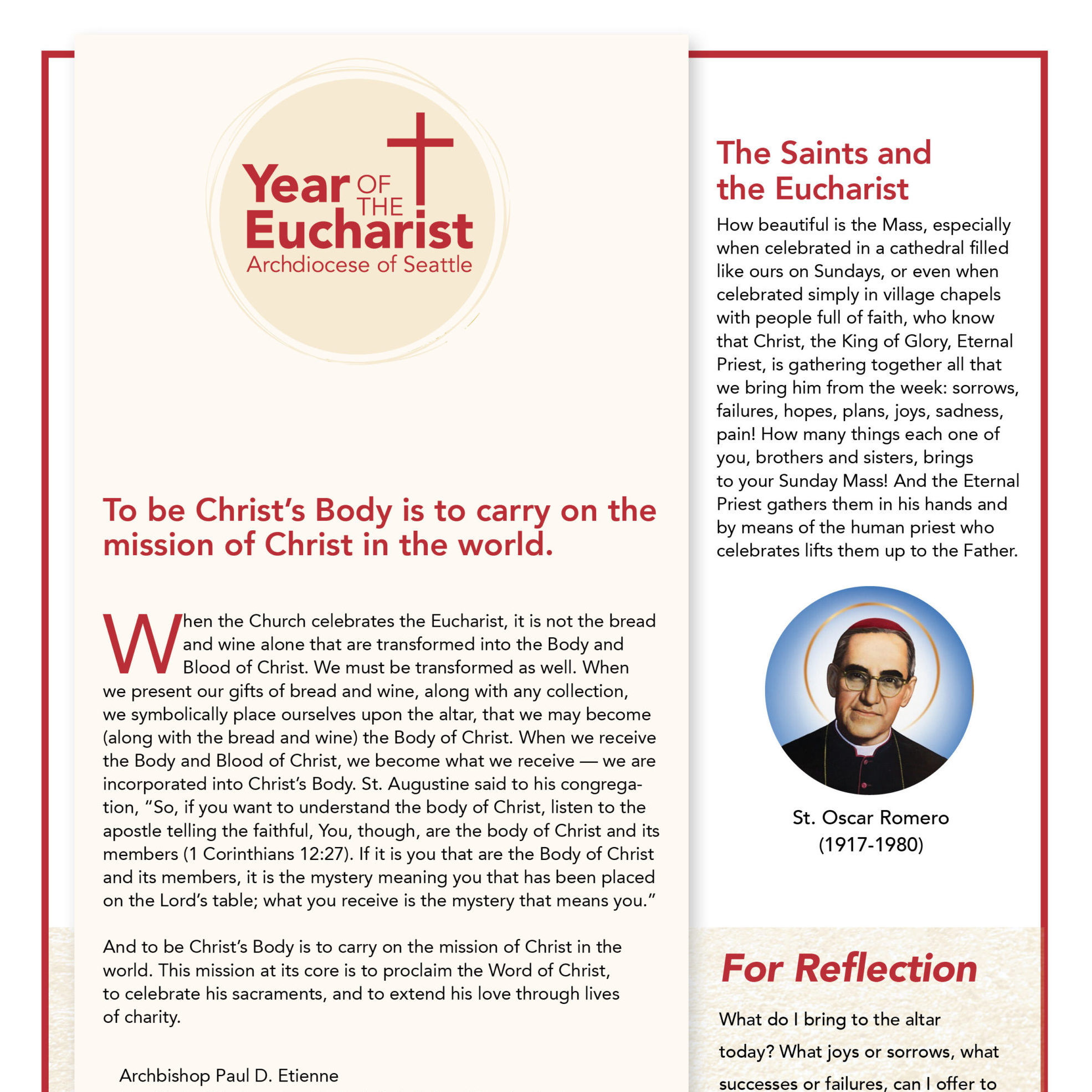 Year of the Eucharist Bulletin Insert R3