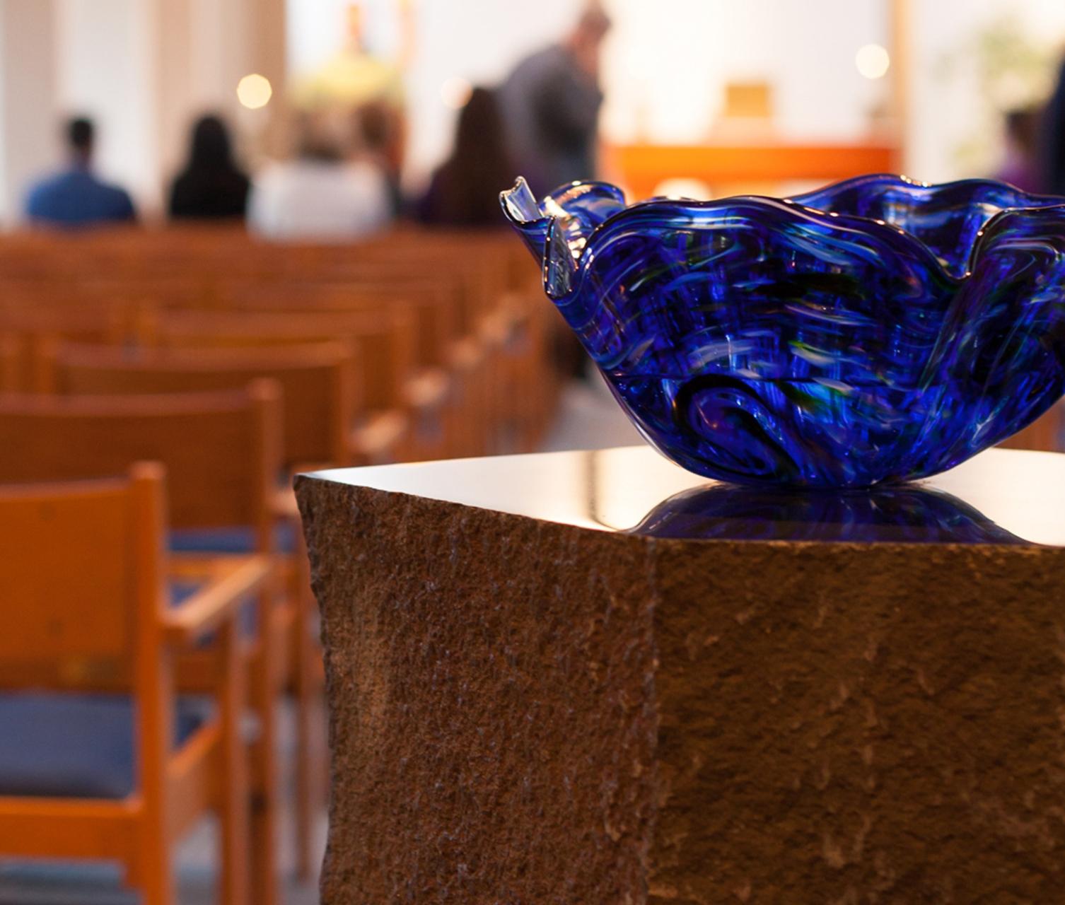 Chapel at Archbishop Retreat Center Holy water blue bowl